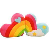 Wholesale Car Office Supplies - Korea Style Love Heart Colorful Couple Cushion Rainbow Clouds Soft Throw Cushions Cover Home Car Sofa Office Supplies 48x14cm