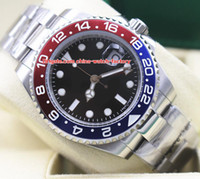 Wholesale luxury sapphire perpetual online - Luxury High Quality Watch mm GMT Blro Pepsi Perpetual Stainless Steel Asia Movement Automatic Mens Watch Watches