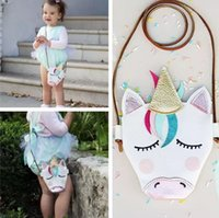 Wholesale purse bags accessories - Kids Mini Shoulder Bags Unicorn Baby Girls Messenger Bag Coin Party Accessory PU Cloth Cartoon Cute unicron Crossbody Bag KKA5138