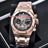 Wholesale offshore rose gold - 5 Style Luxury High Quality Watch N8 Factory 44mm Offshore Tourbillon 18k Rose Gold Asia Transparent Mechanical Automatic Mens Watches
