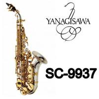 saxofones de soprano venda por atacado-YANAGISAWA SC-9937 Pequeno Curvo Pescoço Soprano Saxofone B Plana de Alta Qualidade Latão Níquel Banhado A Prata Sax Com Bocal Caso