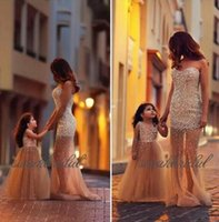 Wholesale sexy equipment - 2018 new cheap sexy mother and girl evening dress tulle Crystal Beaded Parenting equipment sweetheart sweep train party gowns prom dresses