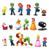 figuras de yoshi al por mayor-Super Mario Figuras de acción 18 Estilos Nuevo juego de dibujos animados Super Mario Yoshi Figuras de acción regalo de navidad para niños C5243