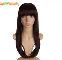 peluca de color marrón oscuro flequillo al por mayor-Pelucas rizadas de las mujeres Dark Brown Natural Fake Full Bangs Hairpieces pelucas sintéticas resistentes al calor para mujeres Peruca