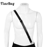 cinturón de cuero artificial al por mayor-TiaoBug Negro de cuero de imitación Un solo hombro Tirantes Correas Hombre Suspender ajustable Hombres Arnés Cinturón con hebillas y cierres