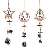 ingrosso artigianato decorativo di natale-2018 Babbo Natale in legno appeso ornamenti natalizi 1 pc carino regali artigianali albero di natale pendenti decor all'ingrosso