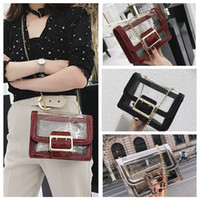 Wholesale wholesale jelly purses handbags online - 3styles Women Jelly Transparent Chain Bags Cover Hasp Flap purse handbag comestic bags Plain Cross body Bags FFA656