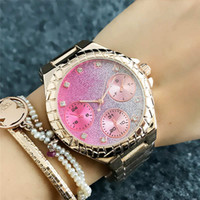 Wholesale Pink Dial Diamond Women Watch luxury Stainless Steel fashion rose gold Wristwatch Female Rhinestones Quartz Dress Ladies Watches Gift Clock