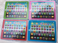 Wholesale toys computer laptop online - Newest big screen Learning Toy game Tablet pad English Computer Laptop Y Pad Kids Game Music Education Christmas Electronic Notebook