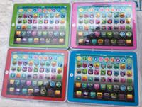 cahier d'apprentissage achat en gros de-Plus récent grand écran d'apprentissage jouet jeu Tablet pad anglais ordinateur portable y pad enfants jeu musique éducation noël portable électronique
