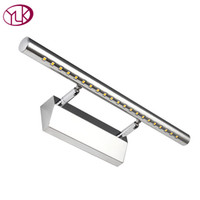Wholesale Touch Switch Led Cabinet Lights - New Modern Stainless Steel LED Front Mirror Light Bathroom Cabinet Dressing Make Up Wall Lamps 28 40 55 70CM 3 5 7 9W Novelty
