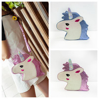 Wholesale leather evening bags resale online - Unicorn Mini Messenger Clutch Bags PU Leather Laser Girls Cross Body Evening Party Bag Cartoon Horse Handbag Storage Bags OOA5583