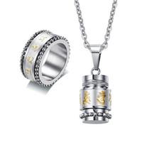 klasik tarz mücevherler toptan satış-Erkek Sanskrit Mantra Spinner Kolye Kolye Yüzük Takı Seti Paslanmaz Çelik Kabartmalı Tibet Vintage Stil Erkek Mücevherat