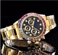 Wholesale diamond male watch - Wholesale New Retail relogio masculino luxury mens watch fashion Designer diamond Black Dial With Folding Clasp Master leather Male clock