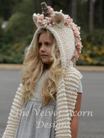 niña niños sombreros al por mayor-Winter Girls Unicorn Bufanda con capucha Unique Kids Creative Hat con bolsillo Warm Girls Knitted Hat Ropa para niños 2-6 años