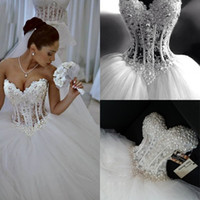 Wholesale wedding lace pearls resale online - Tulle Princess Bridal Gown Sparkly Tulle Puffy Skirt Corset Wedding Dress With Beading Sweetheart robe de mariee bustier
