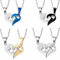 Wholesale Love Necklace For Couples - High Quality Stainless Steel Love Heart Pendants For Ladies Men Fashin Jewelry Necklaces For Couples Accessories CN-022