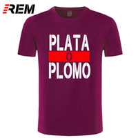 Wholesale led t shirt wholesale - REM Summer New Brand Clothing Plata O Plomo T shirts Men Narcos Pablo Escobar Silver or Lead T-shirt Cotton Hip Hop O Neck Tees