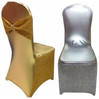 Wholesale silver wedding banquet chair covers - Wedding Party Chair Cover Gold Silver Restaurant Hotel Chair Cover Home Decors Seat Covers Spandex Lycra Banquet NNA159
