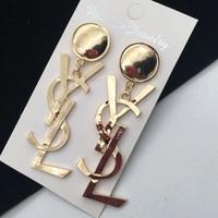 bufandas de boda al por mayor-¡Venta al por mayor! 14 K Diseñador de la Marca de la carta de Perla Stud Pendientes de aguja del collar de Diamante Del Banquete de Boda Regalo de La Joyería de Moda Bufanda Accesorios Caja B7