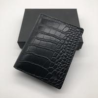 крокодил кошельки для мужчин оптовых-Роскошные мужская мода кожаный бумажник MB короткий клип бренд дизайнер карты пакет MT визитница высокое качество M B крокодил шаблон