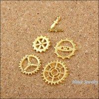 pulsera de ajuste de engranajes al por mayor-Mezclar 225PCS reloj de engranaje chram manos Colgante de color oro Aleación de Zinc Fit Pulsera Collar DIY Resultados de la joyería de Metal 60019