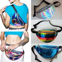 Wholesale wholesale womens bags purses - 21COLORS Womens Fanny Pack PU Laser Purse Waist Chest Bag Girls Hip Bag Punk Sport Travel Bag FFA255 12pcs