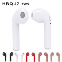 Wholesale 2018 i7 Single Wireless Bluetooth Earphones Stereo Music Head Phone set Earpiece Retail Package In Ear Music Earbuds Wireless Headphones