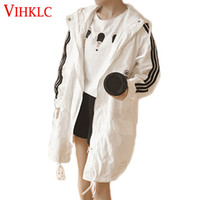 Wholesale Summer Trench Coat Women - VIHKLC Spring summer women coat 2017 new coat Trench fashion Loose casual Hooded thin Sunscreen Trench Plus size AY118