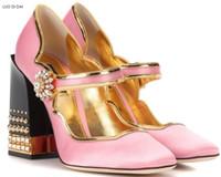 sapatos de diamante rosa sapatos de salto alto venda por atacado-2018 Novas mulheres rosa de salto alto robusto calcanhar bombas de diamante sapatos de festa pico stud bombas vestido sapatos de casamento sapatos rebites bombas