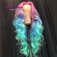 ombre peluca sintetica de onda suelta al por mayor-Pelucas de cabello de color Sintético Onda larga suelta ombre Rosa Azul pelo de colores Peluca delantera del cordón Sirena Cosplay pelucas pelucas del partido para mujeres
