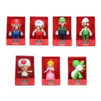 ingrosso yoshi luigi-23 cm Super Mario bros Figura Yoshi Peach Princess rospo PVC Action Figure Toy Mario Luigi figura giocattolo bambola