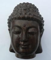 chinesische schnitzerei hölzern großhandel-Chinesische Hand geschnitzte hölzerne tibetische Buddhismus Sakyamuni Buddha Kopf Statue