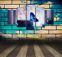 ingrosso la farfalla ha incorniciato la pittura a olio-Blue Butterfly Books 5 pezzi Stampe su tela Wall Art Oil Painting Home Decor / (Senza cornice / Con cornice)