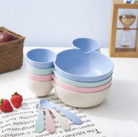 Wholesale baby food plates - Cute Cartoon Children Bowl Dishes Baby Feeding Bowls Degradable Material Baby Dinner Food Container Fruit Plate Kids Tableware