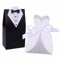 ingrosso souvenir sposo sposo-HD (50 Set / lotto) Sposa e lo sposo Wedding Candy Box Regali di nozze di carta per gli ospiti Souvenir forniture scatola di cioccolatini