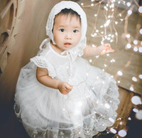 Wholesale summer baptism gown for sale - Group buy 2018 Summer New Thin White Newborn Baby Girl Christening Gown First Birthday Princess Bow Baptism Dress Hat BB