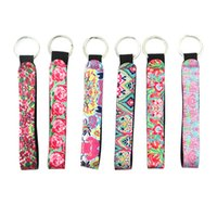 Wholesale wedding keychain favors - Lilly Pulitzer Key Chain Neoprene Bag Charmer Keychain Sublimation Keyring Wedding Favors Gift Party Favor OOA5383