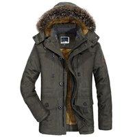 sobretudo de casaco de pele de homem venda por atacado-Homens jaqueta de inverno gola de pele casual engrossar casaco além de blusão de veludo parkas tamanho 5xl 6xl mens inverno outwear casaco longo