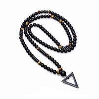 colares de hematita venda por atacado-2018 Novo Design Longo Necklac 8 MM Tigre De Pedra Bead Hematita Triângulo Dos Homens Negros Pingentes Colar Moda Geometria Jóias