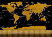 grandes murais de parede frete grátis venda por atacado-Nova Edição de Viagem Raspe Fora Mapa Do Mundo Adesivo de Parede Poster 82.5x59.4 cm Arte Personalizada Jornal Grande Mapa Decalque