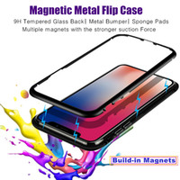 Wholesale apple iphone network - For Apple iPhone X Case Magnetic Flip Full Body Metal Cover Network Red Case for IphoneX Clear Glass 7 8plus 8x Luxury Brand