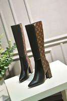 lila paillettenschuh großhandel-Frauen Schuhe High Heels Bein lange Echtem Leder wasserdichte Stiefel Reine Farbe Stil, verschiedene Schnalle und Tasche