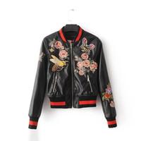 chaquetas de terciopelo de seda al por mayor-Sukajan Souvenir Motocicleta PU Chaqueta de Cuero Mujer Corta Estampado Floral Baseball Varsity Chaqueta streetwea abrigo de las mujeres