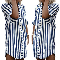 Wholesale Stripe Long Sleeve Top - New Fashion Women Long Cotton Stripe Shirt Stand Collar Half Sleeve Dress Casual Loose Tops RF0814