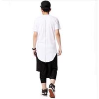 рубашки на молнии сзади оптовых-Оптовая продажа-Moomphya уличная мужчины extented назад хвосты Хабар смешные футболки с задней zip хип-хоп ярус хипстер длинные футболки для мужчин
