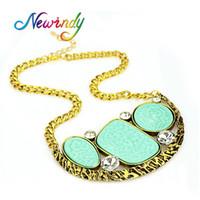 Wholesale necklace big geometric - whole saleFashion Jewellery Big Green Black Hotpink Stone Geometric Collar Statement Necklace Antique Gold-Color Chain Necklace Women