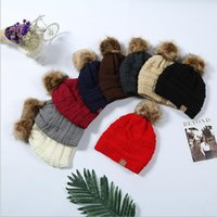 Wholesale Winter Knitted Pom Hat Wholesale - Adult cc Knitted Trendy Hats Unisex Knitted Fur Poms Beanie Winter Label Skull Caps Fashion Beanie Slouchy Outdoor Hats KKA3626