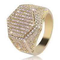 micro pave zircon al por mayor-Hip Hop Cube hexagonal anillo de cobre oro plata color plateado helado hacia fuera Micro Pave anillo de circón cúbico para hombres mujeres