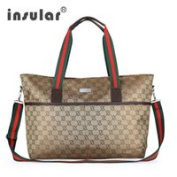 Wholesale diaper bags strollers resale online - Insular Diaper Bag Large Totes Handbag with Changing Pad Baby Hobos Nappy Bags Waterproof Mother Shoulder Bag Baby Stroller Bags